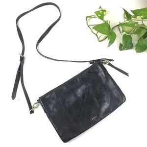 Fossil Sydney top zip crossbody bag black leather